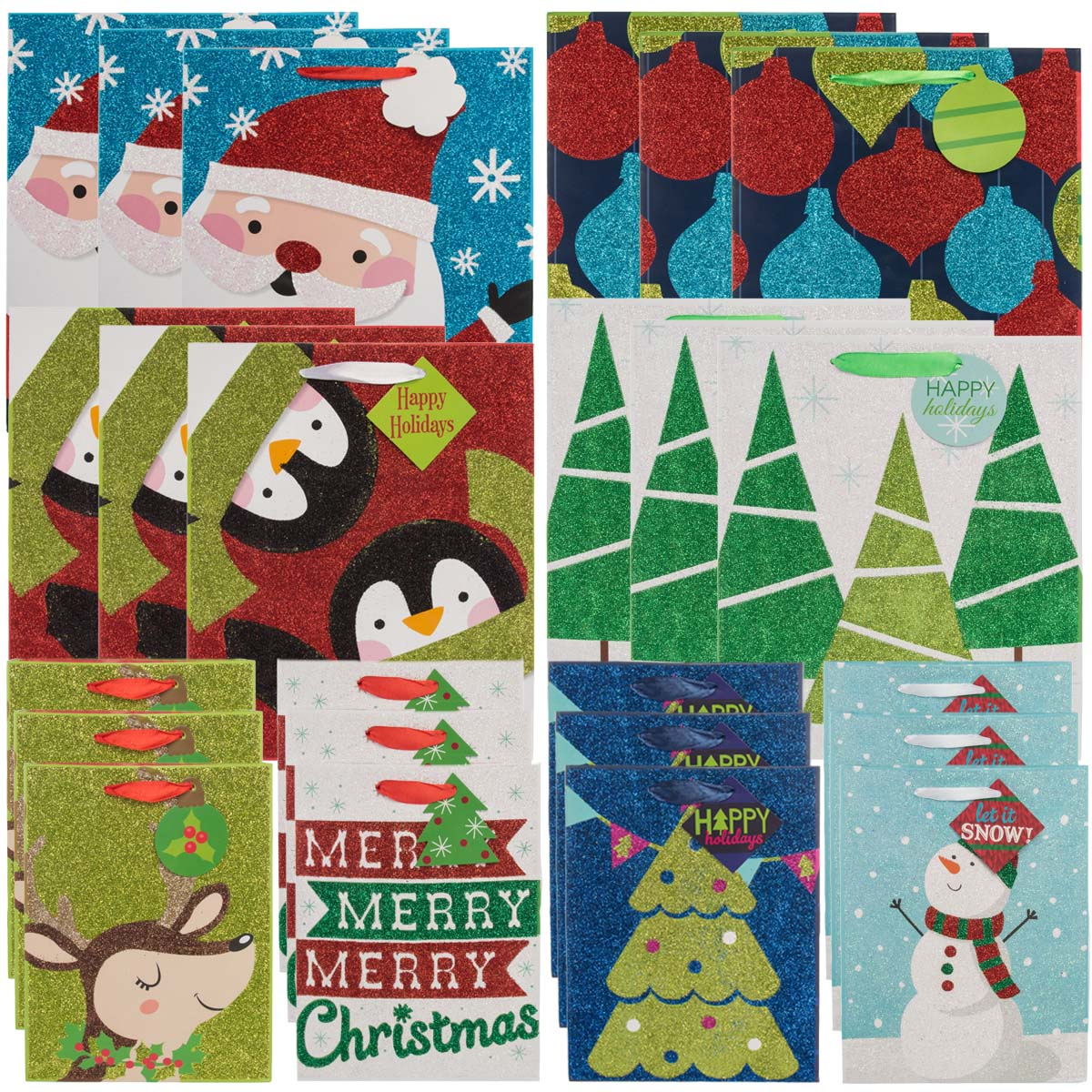 Paper Craft (24 Pack) Assorted Christmas Gift Bags Set Holiday Medium Large Glitter Handle Bulk Lot