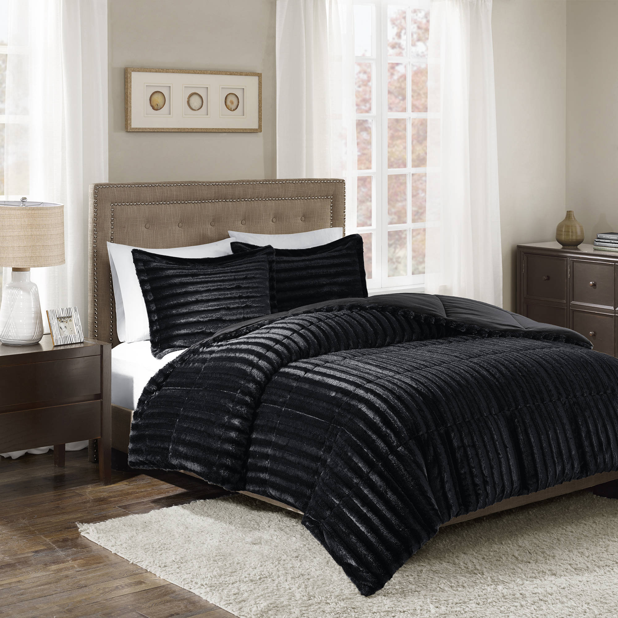 Home Essence York Faux Fur Comforter Mini Set