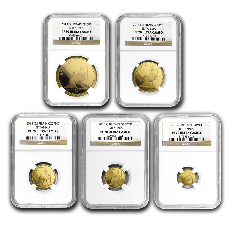 2013 5-Coin Gold Britannia Proof Set PF-70 NGC