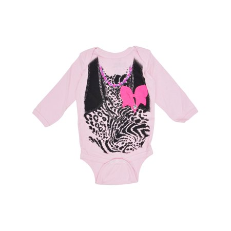 Baby Girls Leopard Print One-Piece Bodysuit Long Sleeve Pink Infant Costume](Childrens Leopard Print Onesie)