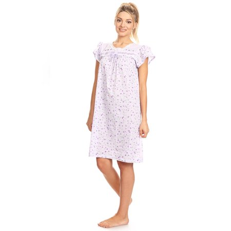 10035 Women Pajamas Night Gown Sleepwear Night Shirt Purple - Womens Nightwear