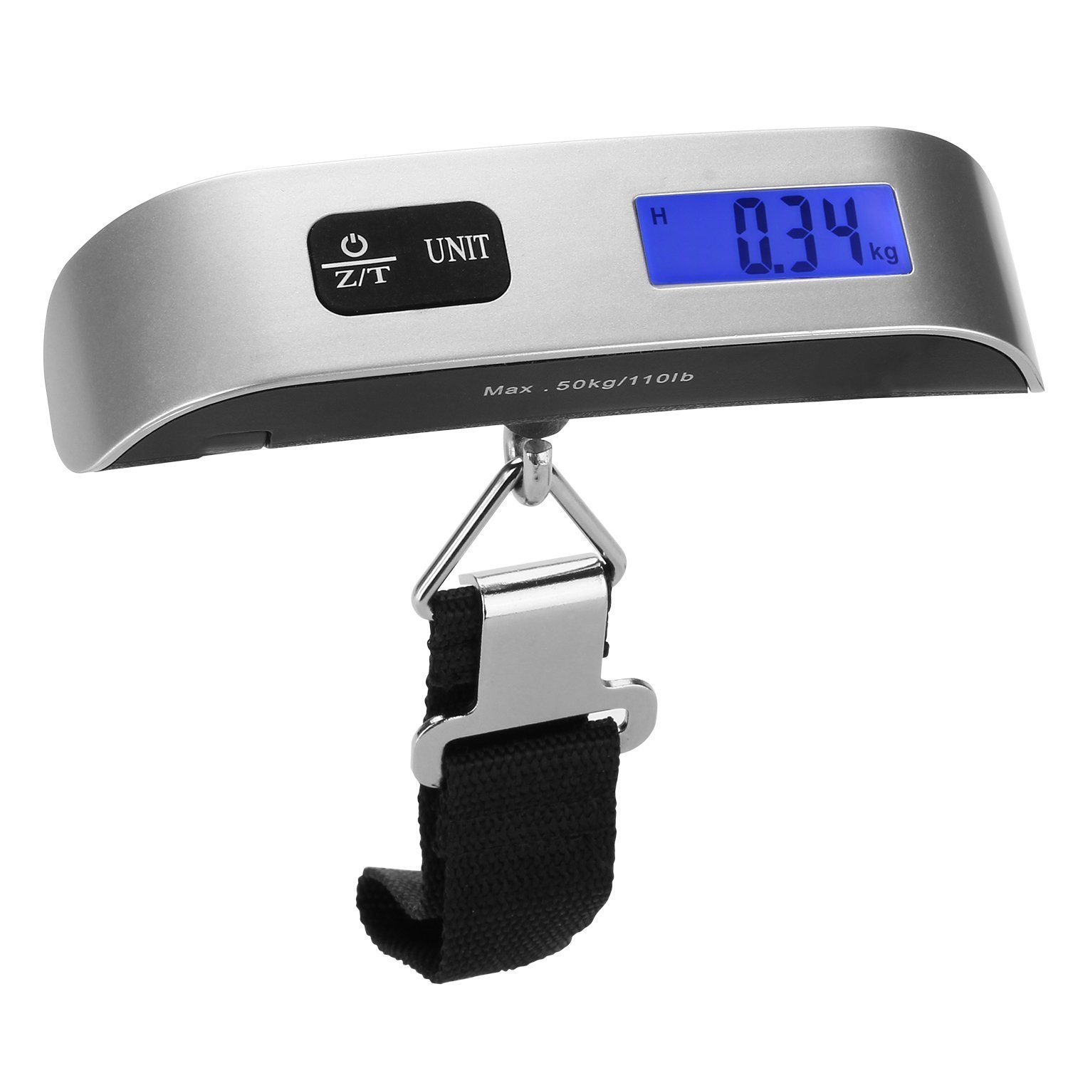 9aa133b34161 Dr.meter Luggage Scale, 50Kg/10g 110LB Stainless Steel Hanging Handheld  Travel Pocket Scale with Rubber Paint Handle, Temperature Sensor,  Silver/Black
