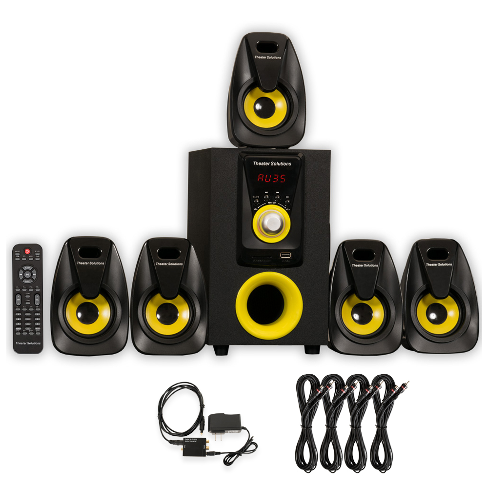 Theater Solutions TS522 Home Theater 5.1 Speaker System with Optical Input and 4 Extension