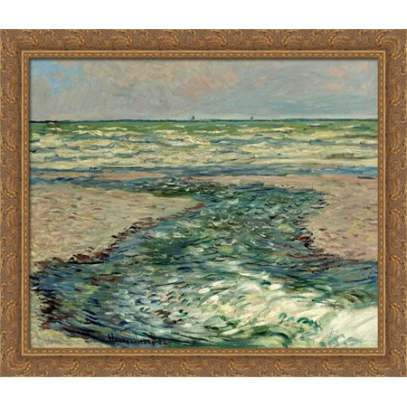 The Seacoast Of Pourville  Low Tide 34X28 Large Gold Ornate Wood Framed Canvas Art By Claude Monet