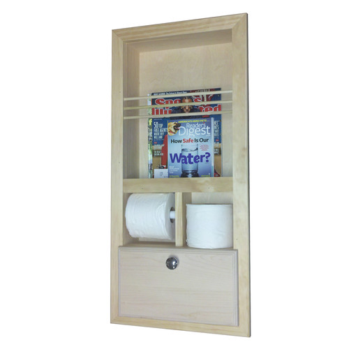 WG Wood Products Recessed Magazine Rack with Double Toilet Paper and Storage Cubby by WG Wood Products