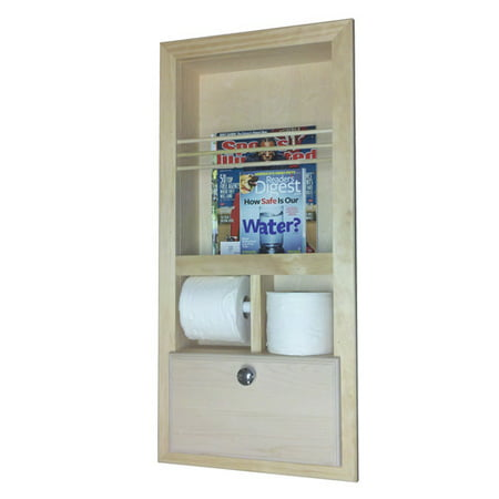 WG Wood Products Recessed Magazine Rack with Double Toilet Paper and Storage Cubby