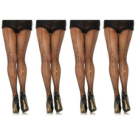 cf090486755 Leg Avenue Women s Rhinestone Back seam Fishnet Pantyhose