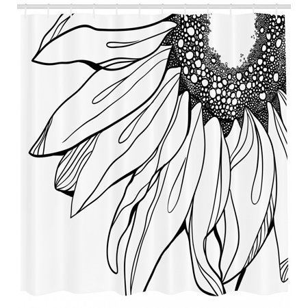 Doodle Parts - Doodle Shower Curtain, Part of a Sunflower in Black and White Botanical Garden Agricultural Growth Theme, Fabric Bathroom Set with Hooks, Black White, by Ambesonne