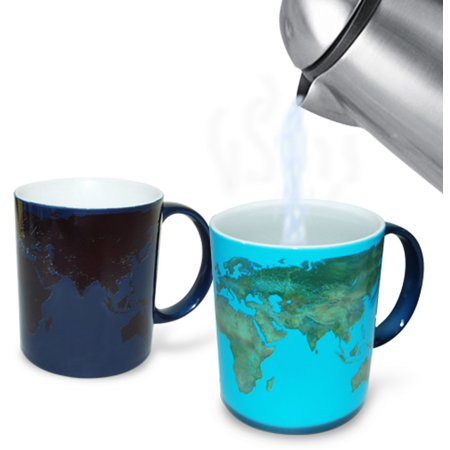 World Day And Night Heat Changing Mug Map Coffee Tea Activated Color Globe (Coffee Mug Color Changing)