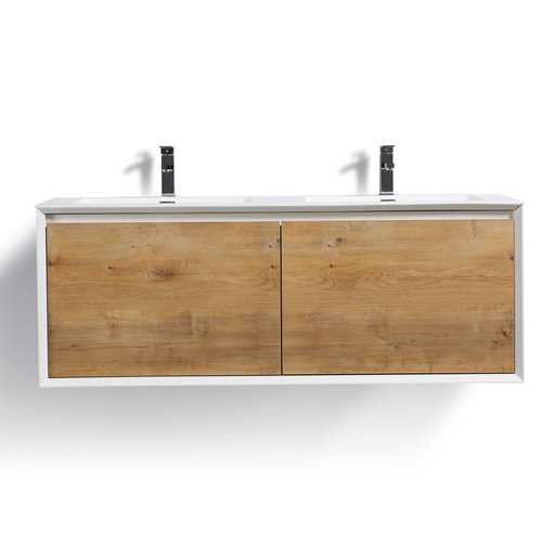 Rustic Bathroom Vanity Set: Union Rustic Murdock 59'' Wall-Mounted Double Bathroom