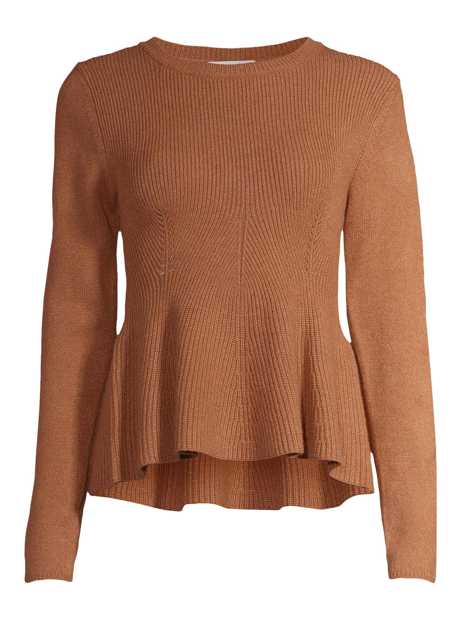 Sofia Jeans by Sofia Vergara Women's Crewneck Peplum Sweater
