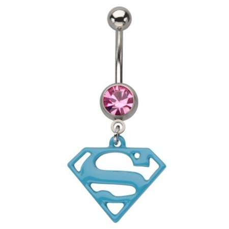 Belly Button Rings 316L, Dangle, Gem, Press Fit, Superman, Navel Ring (Belly Button Rings Dangle Horse)