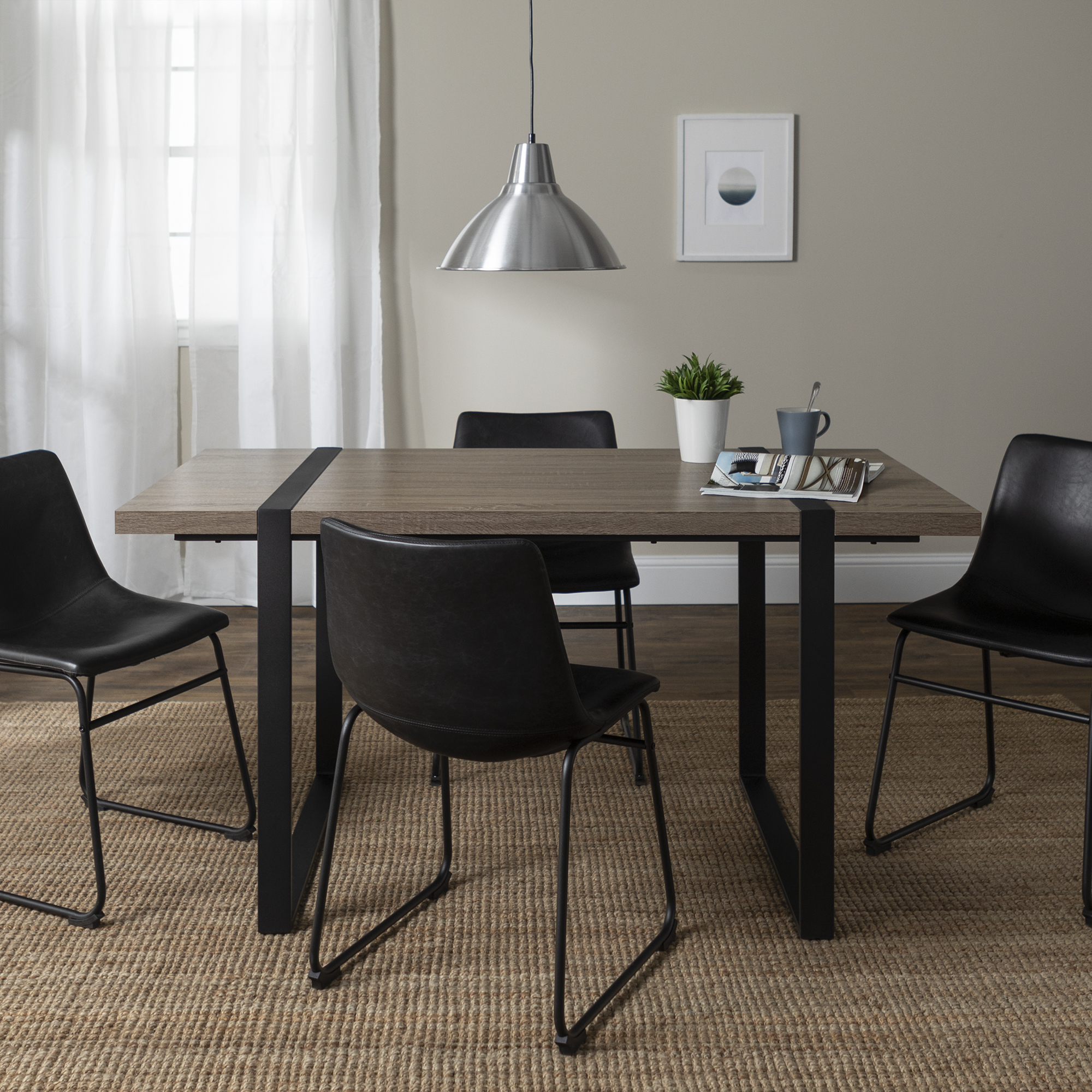 Manor Park Urban Blend 5 Piece Dining Set - Driftwood/Black