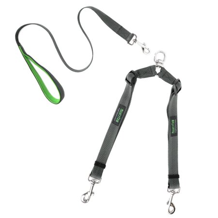 Mighty Paw Double Dog Leash, Adjustable Length Two Dog Lead, No-Tangle Leash for 2 dogs (No Handle, - Gray Leash
