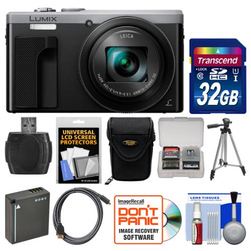 Panasonic Lumix DMC-ZS60 4K Wi-Fi Digital Camera (Silver) with 32GB Card + Case + Battery + Tripod + HDMI Cable + Kit