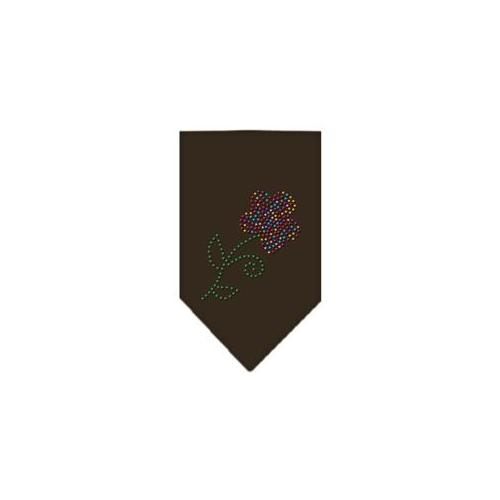 Image of Multi Flower Rhinestone Bandana Cocoa Small