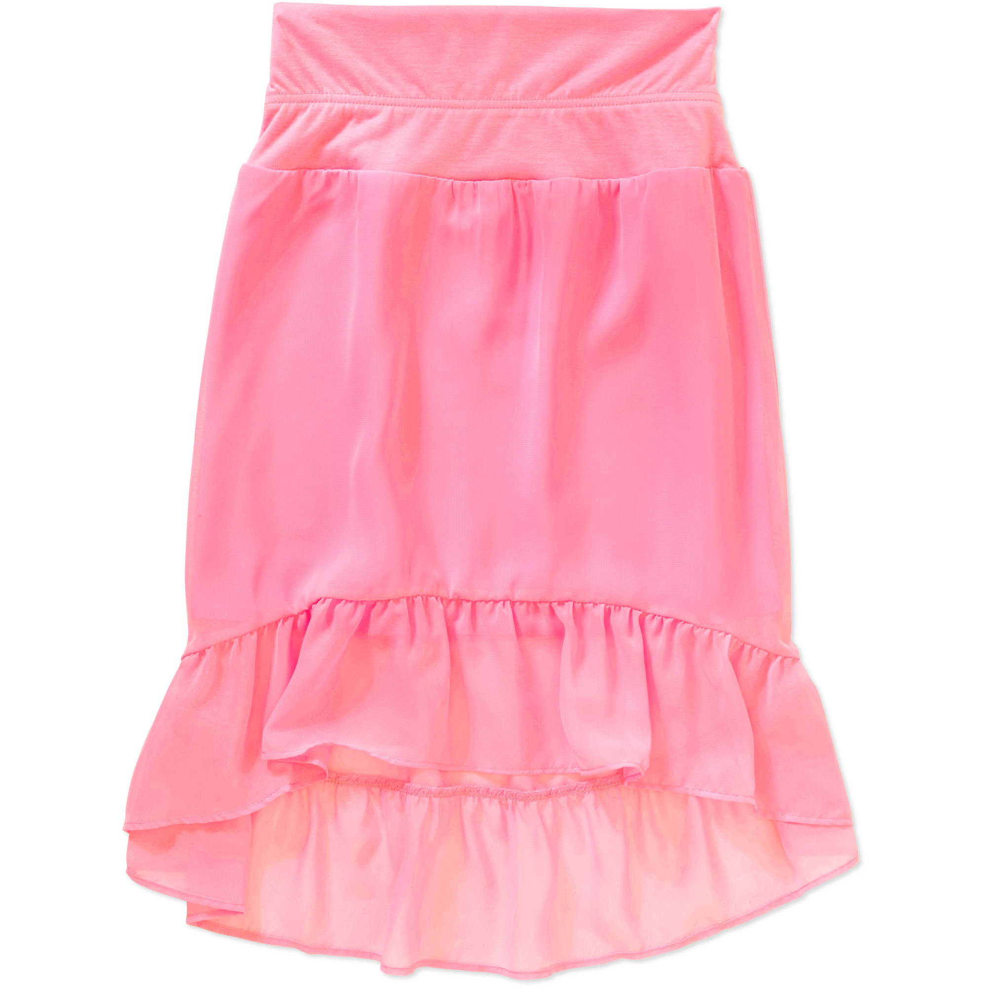 Faded Glory Girls' Solid Chiffon High Low Skirt