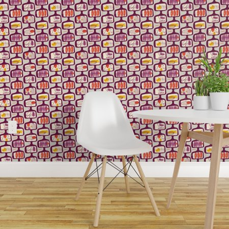 Removable Water Activated Wallpaper Vintage Mod Geometric Purple Atomi