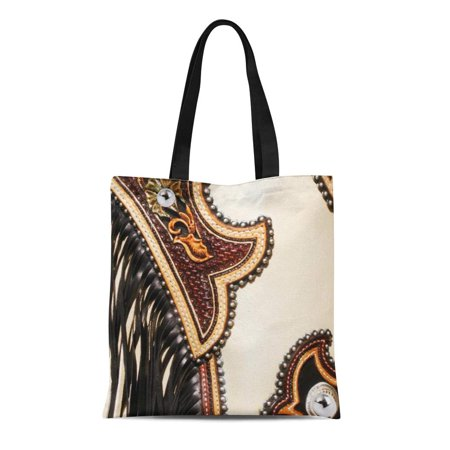 ASHLEIGH Canvas Tote Bag Western Tan and Brown Chap Fringed Southwest Styles Old Reusable Handbag Shoulder Grocery Shopping Bags Brown All Purpose Totes