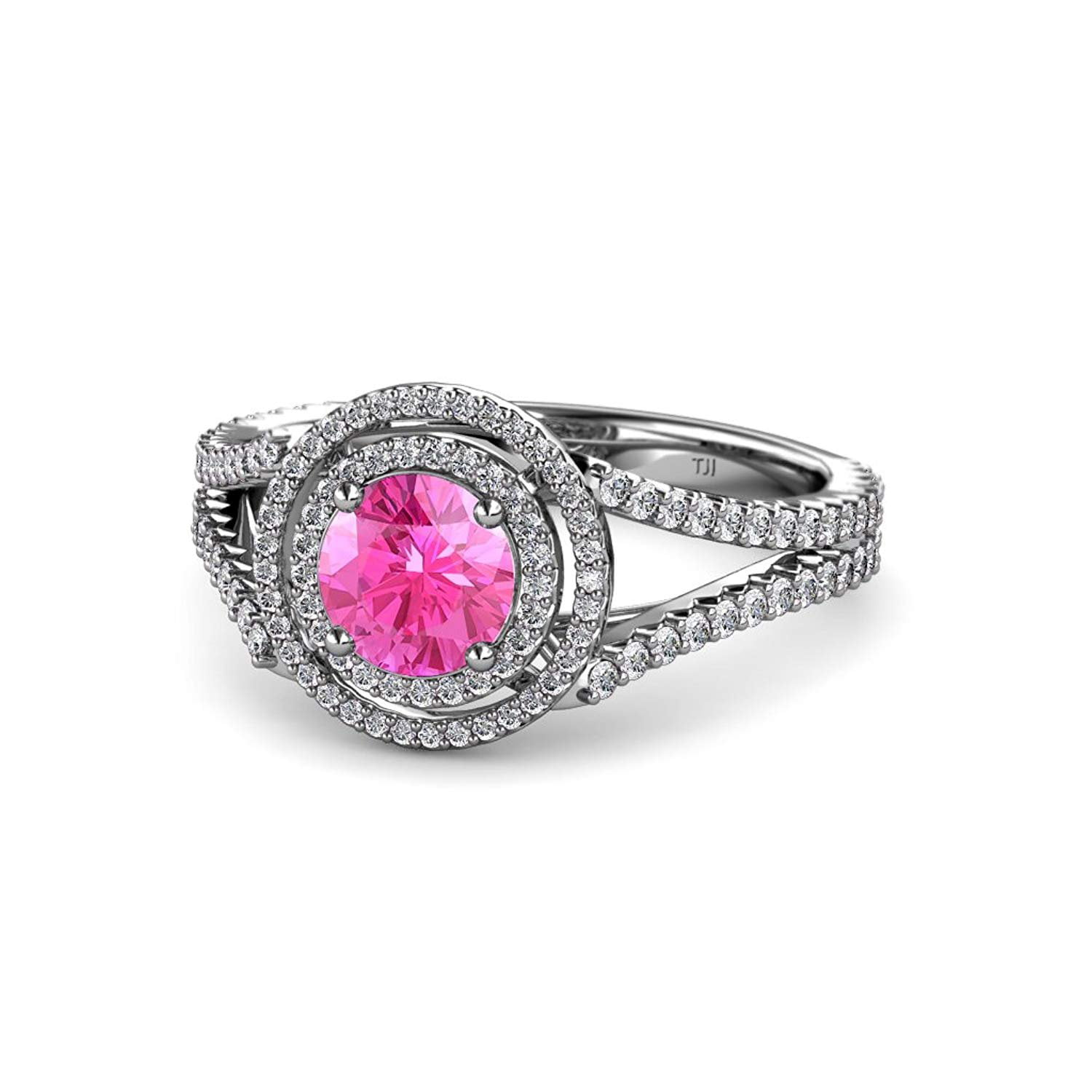 Pink Sapphire and Diamond (SI2-I1, G-H) Double Halo Engagement Ring 1.32 ct tw in 14K White Gold.size 4.5 by TriJewels