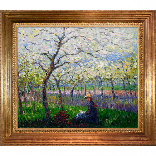Wildon Home  An orchard in Spring by Claude Monet Framed Original Painting