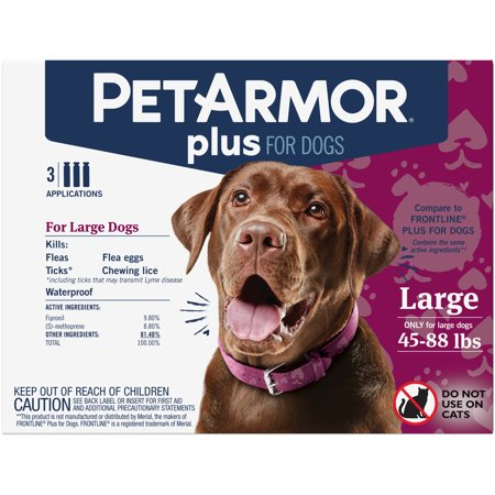 PetArmor Plus Flea & Tick Prevention for Large Dogs (45-88 lbs), 3 Treatments