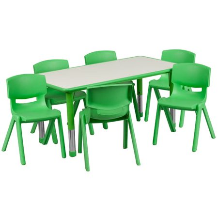 Flash Furniture 23.625W x 47.25L Adjustable Rectangular Plastic Activity Table Set in Multiple Colors with 6 School Stack Chairs, Grey