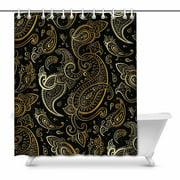 MKHERT Elegant Paisley Golden and Black Waterproof Shower Curtain Decor Fabric Bathroom Set 66x72 inch