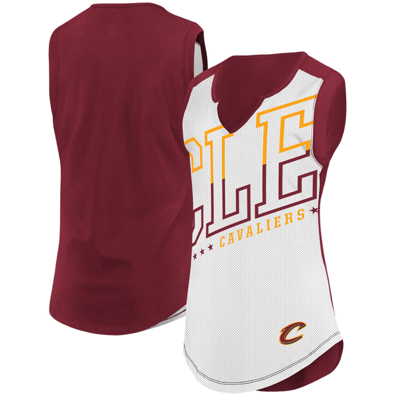 Cleveland Cavaliers Majestic Women's Relevant Play Sleeveless T-Shirt - White/Wine