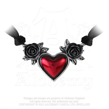 Red Heart of Romantic Love Black Roses of Forever Commitment Gothic Necklace
