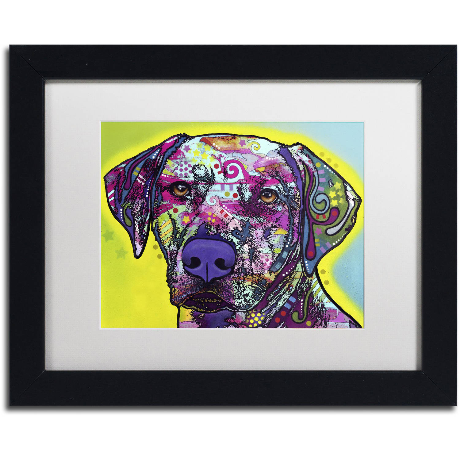 "Trademark Fine Art ""Rhodesian Ridgeback"" Canvas Art by Dean Russo, White Matte, Black Frame"