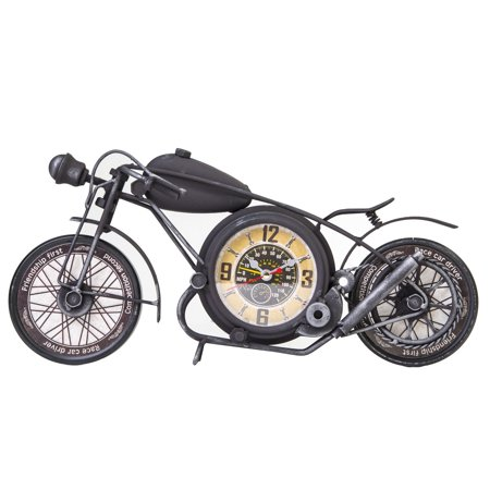 Zogari Metal Vintage Motorcycle Wall or Desk Clock Sculpture Decoration 3D - Black Motorcycle Wall Clock