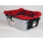 FidoRido gray two-seater with light-weight fleece in red with black paw prints and two small harnesses