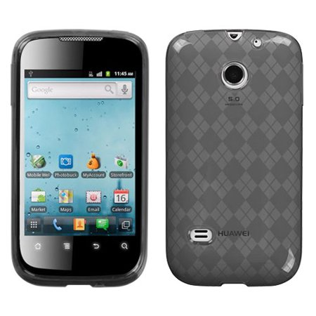 For M865 Ascend II Smoke Argyle Silicone Candy Skin Protector Cover Case