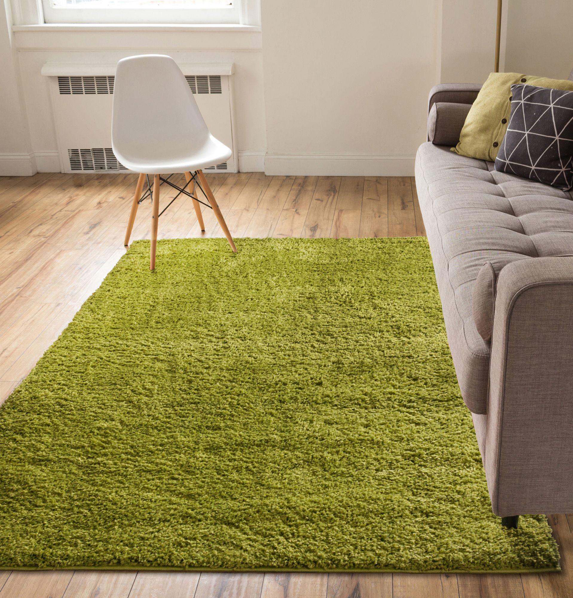Solid Retro Modern Green Shag 3x5 ( 3'3'' x 5'3'' ) Area Rug Plain Plush Easy Care Thick Soft Plush Living Room Kids Bedroom