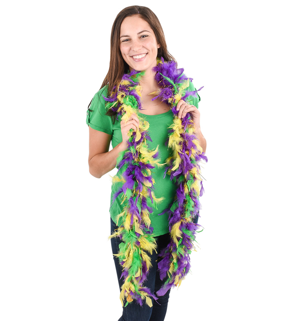 Lumistick 6' Purple Green & Gold Feather Boas with Gold Tinsel, 5 pieces