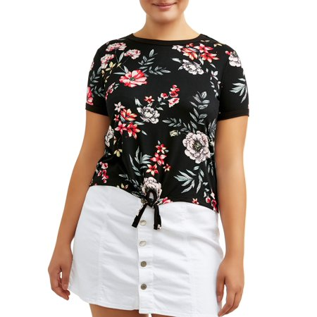 Eye Candy Juniors' Plus Size Floral Tie-Front Ringer T-Shirt