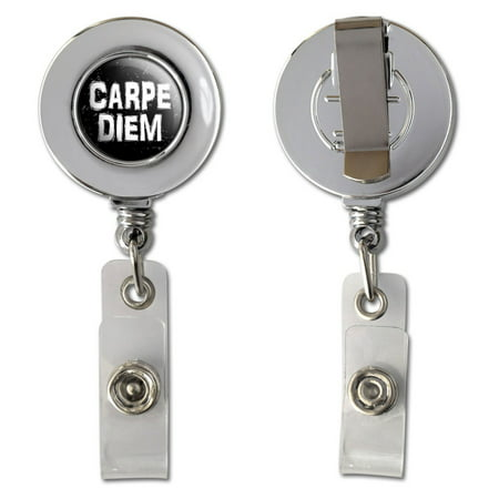 Carpe Diem Seize the Day Latin Inspirational Distressed Retractable Reel Chrome Badge ID Card Holder Day Badge Reel