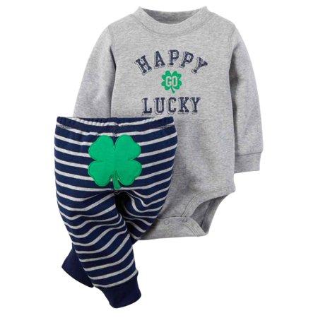 f7c1933dcf Carter s - Carters Infant Boys Happy Go Lucky Shamrock Bodysuit   Pants 2  PC Set Newborn - Walmart.com