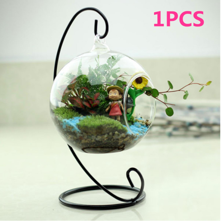 Hanging Glass Globe Plant Terrariums,1Pcs Glass Orbs Air Plants Tea Light Candle Holders Succulents Moss Miniature Garden Planters Home Decor Indoor Garden DIY