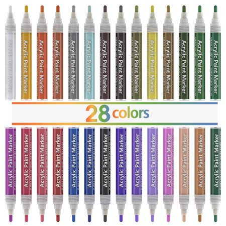 Acrylic Paint Markers for Rocks Painting, Magicfly 28 Colors Water-Based Acrylic Paint Pens for DIY Craft Projects, Canvas, Wood, Glass, Paper, Ceramic, Fabric, and More