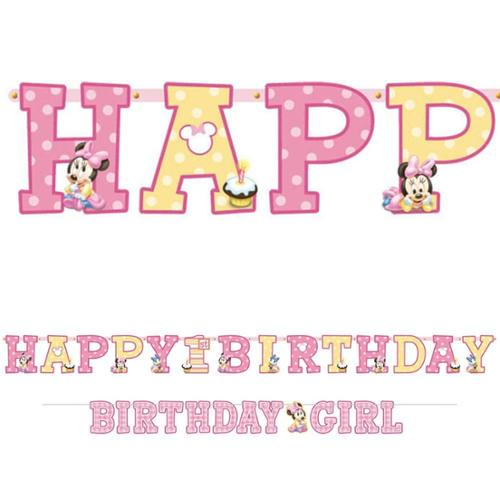 Minnie Mouse 1St Birthday Letter Banner Combo (Each) - Party Supplies