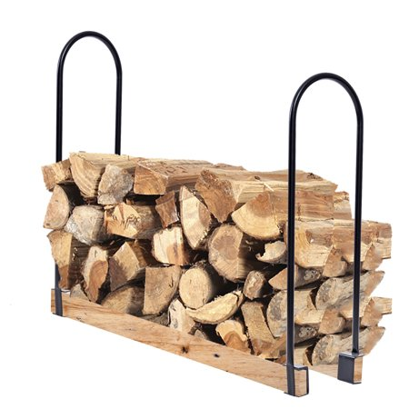 Length Log Rack (Costway Adjustable Length Outdoor Kitchen Firewood Log Rack Heavy Steel Wood)