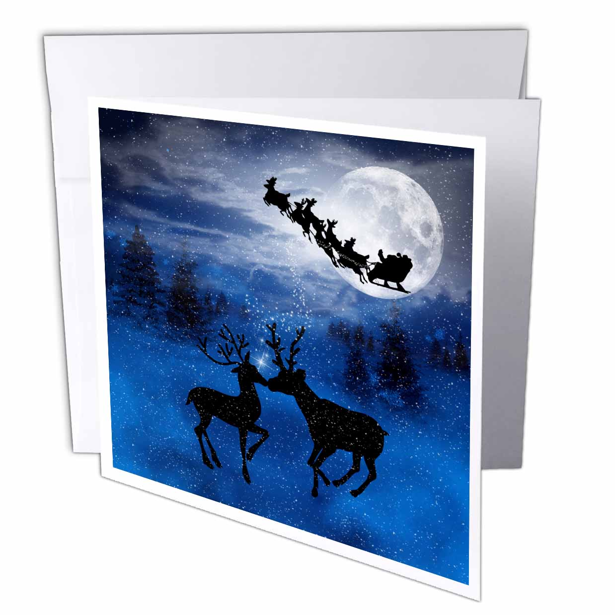 3dRose Romantic Christmas Reindeer Kissing in the Snow with a Winter Moon shining on the Forest, Greeting Cards, 6 x 6 inches, set of 12
