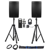 "(2) JBL EON615 15"" 2000 Watt Powered DJ PA Speakers+Stands+Cables+Mic+Headphoness"