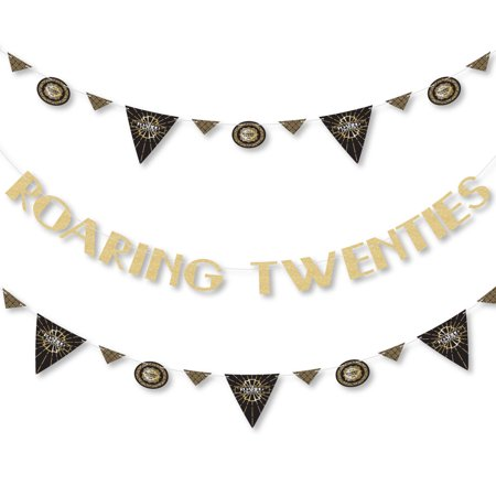 Roaring 20's - 1920s Art Deco Jazz Party Letter Banner Decoration - 36 Banner Cutouts and No-Mess Real Gold Glitter Roar](1920's Decoration)