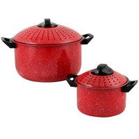 Gibson Home Casselman 4 Piece Nonstick Pasta Pot Set in Red with Bakelite Handle/Knob