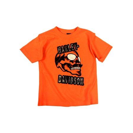 Harley-Davidson Little Boys' Skull & Shades T-Shirt, Safety Orange 1580661 (4), Harley -