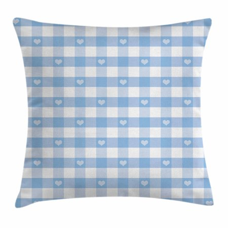 - Checkered Throw Pillow Cushion Cover, Gingham Motif with Cute Little Hearts Pastel Blue Baby Shower Kids Theme, Decorative Square Accent Pillow Case, 18 X 18 Inches, Pale Blue White, by Ambesonne