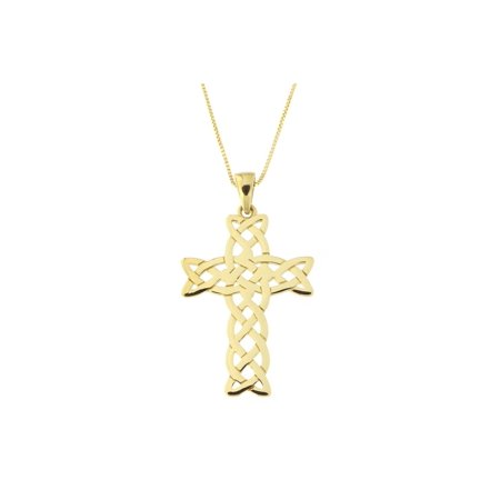 14k Yellow Gold Medium Sized Woven Celtic Cross Pendant Necklace, 13 15 16 17 18 20 22 24 ()